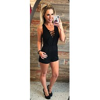 Center of Attention Romper: Black