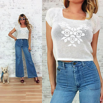 Vintage 1970's Cotton CROCHET Floral Tank Blouse || Boho Hippie Fishnet Shirt || Size Small Medium
