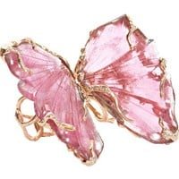 Lucifer Vir Honestus Pink Tourmaline Double Butterfly Ring