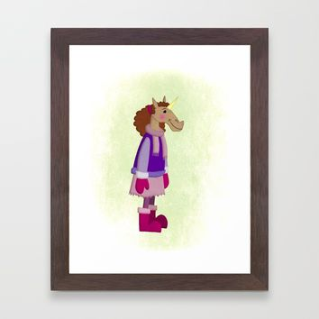 Cozy Skirt Unicorn Framed Art Print by That's So Unicorny