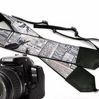 Newspaper camera strap. Vintage Camera strap. DSLR Camera Strap. Camera accessories. Text.