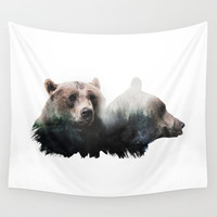 Bear Brothers Wall Tapestry by Cafelab