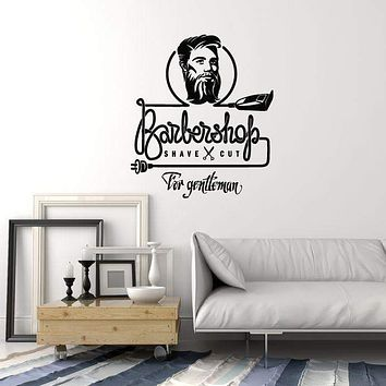 Vinyl Wall Decal Barbershop Hair Stylist Shaving Barber Man Art Decor Stickers Mural (ig5469)