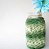 Mason Jar Cozy Crochet Jar Cover in Green Ombre