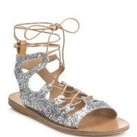 enabled: truelabel: Ancient Greek Sandals-Antigone Perforated Metallic Leather Gladiator Sandals