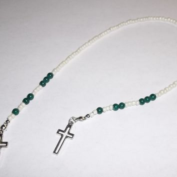 Crosses Cream Pearl Glass & Forest Green Stone Beaded Artisan Crafted Book Thong Bookmark