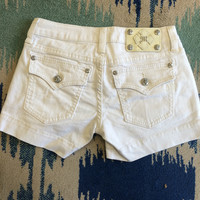 Miss Me Clean Flap Pocket Shorts - White