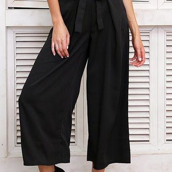 Get On Up Grommet Tie Belt Elastic Waist Cropped Palazzo Wide Leg Loose Pant - 3 Colors Available