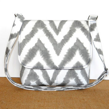 Gray Chevron Bag, Small Messenger Bag - Premier Prints Diva Chevron Twill Storm