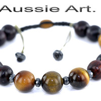 B-304 Aussie Made Adjustable Rosewood Tigers Eye Unisex Wristband Men Bracelet.