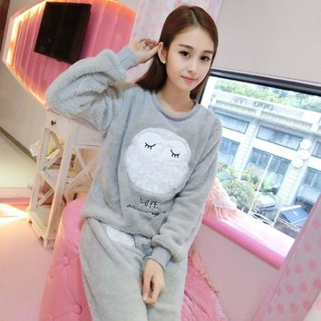 Winter Adult unicorn kigurumi pajamas homewear for teens women female Long Sleeve Home clothes cute cartoon two pieces set