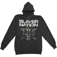Slayer Men's  Slayer Nation Zippered Hooded Sweatshirt Black