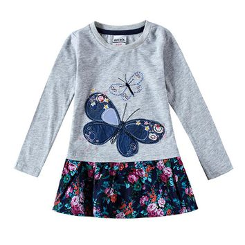 girls clothes baby girsl clothes nova kids girls dresses for girls dress with butterfly dress for girls long sleeve dress H5460
