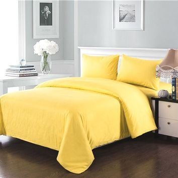 Tache 2-3 Piece 100% Cotton Solid Banana Yellow Duvet Cover Set
