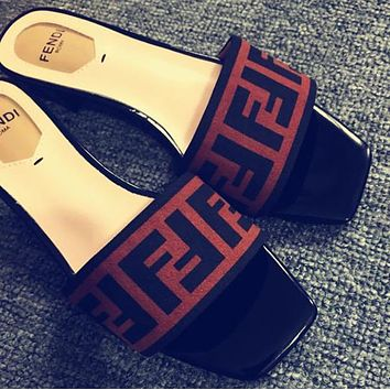FENDI Velvet Slipper Flats Shoes