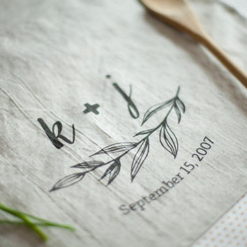 Personalized Love Kitchen Tea Towel,Pre-Washed Linen Cloth Napkins, Wedding, Anniversary, Bridal Shower, Christmas, Holidays Gift, #T001