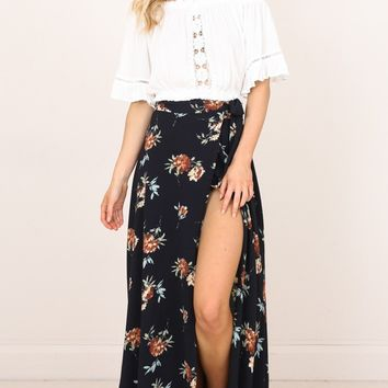 Break A Leg Maxi Skirt in ink floral Produced By SHOWPO