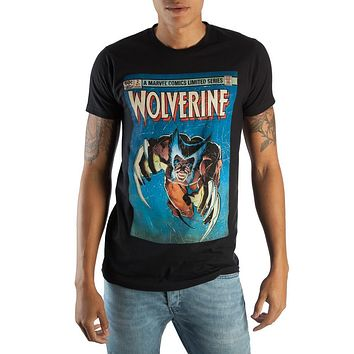 Retro Wolverine Marvel Comic Book Cover Artwork Men's Black Graphic Print Boxed Cotton T-Shirt