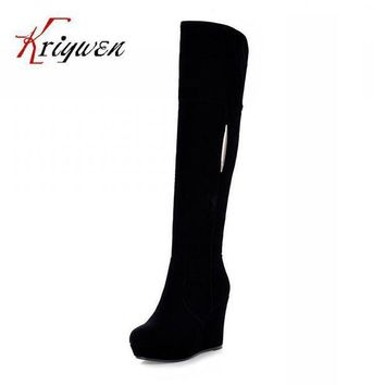 CREYONV factory discount 2015 sexy winter wedges flock knee high boots for women snow zip shoe  number 1