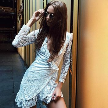 Lace Summer Women's Fashion V-neck Long Sleeve One Piece Dress [11899493391]