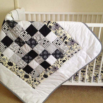 Crib bedding set~ two piece set~ baby bedding~ safari~ monochrome~ black~ white~ yellow~ crib sheet~ patchwork quilt~ handmade~ baby crib