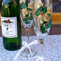 Hand Painted Gold Roses Champagne Glasses