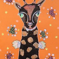 Quirky Giraffe Art - Folk Art Giraffe - Kids Giraffe Art- Outsider Art Giraffe - Giraffe Art - Whimsical Giraffe - Primitive Giraffe