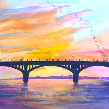 Watercolor Austin Bats, Austin Texas, congress bridge sunset, 22x30 Large, ORIGINAL landscape painting, TX, skyline, sunset sky, bats, lake