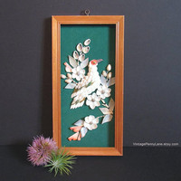 Vintage Framed Shell / Seashell Bird and Flower Art Wall Hanging
