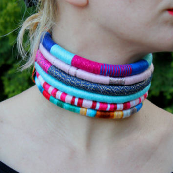 BOHO, Choker, Statement Necklace, Rope Choker, African Necklace, Aztec Necklace, Tribal Necklace, for Her, African Jewelry, gift for her