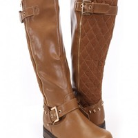 Tan Crinkle Faux Leather Mid-Calf Riding Boots