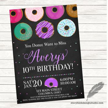 Donut Birthday Party Invitations