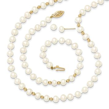 14K Yellow Gold bead 5-6mm Fresh Water Cultured Pearl Necklace 7.25in Bracelet Earring Set