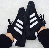 """ADIDAS"" Shell Toe Popular Women Men Fashion Casual Flat Sports Shoes Sneakers Black White Line I"