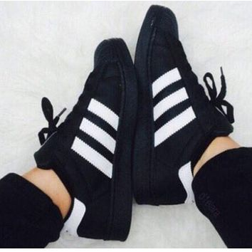 Adidas Fashion Women Men Casual Shell-Toe Sport Flat Shoe Sneakers Black White Line I