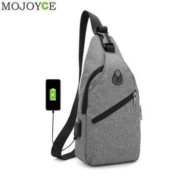 Oxford Men Chest Pack Single Shoulder Strap Back Bag USB Charge Crossbody Bags for Women Sling Shoulder Bag Back Pack Travel