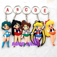 Sailor Moon Tsukino Usagi Bag Parts Mini Anime Action Figure Key Ring Kids Toy Pendant bag Chain Holder Accessories