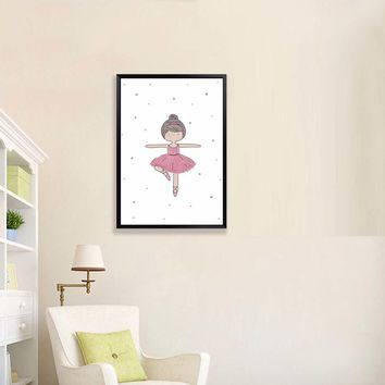 Modern Pink Ballet Dance Girl Friend Love Posters Nordic Living Room Wall Art Print Pictures Home Decor Canvas Painting No Frame