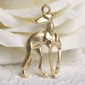 Italian Greyhound Pendant Jewelry Making Greyhounds Dog Metal Galgo Gold Charms For Necklace Earring DIY M81002