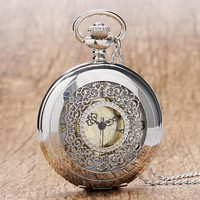 Silver Scroll Detail Classic Pocket Watch
