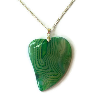 Green Onyx Agate Heart Necklace  Gemstone Heart Pendant Stone Heart Gemstone Pendant Girlfriend Necklace Reiki Necklace Statement necklace