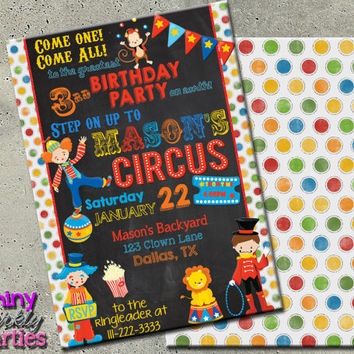 CIRCUS INVITATION - Carnival Birthday Invitation - Birthday Circus Invitation Carnival Circus Invitation Clown Invitation - Circus Invite