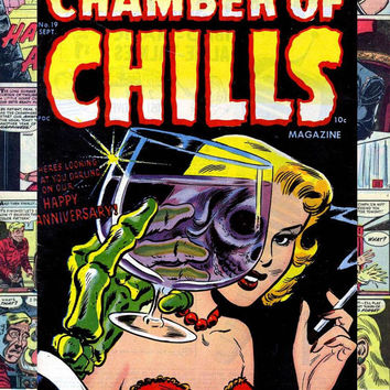 Harvey Chamber of Chills #19 custom comic storage decoupage short box, Pre-code Golden age classic horror 1953