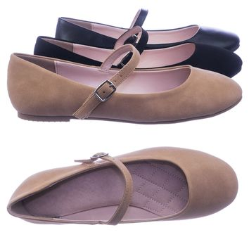 Hookup Women Comfortable Padded Mary-Jane Round Toe Ballet Ballarina Flats