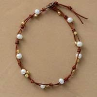 Freshwater Pearl & Leather Choker Necklace In Stock