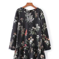Casual Round Neck Ruffle Trim Floral Printed Long Sleeve Romper