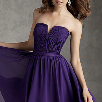 Short Strapless Purple Dress from Mori Lee