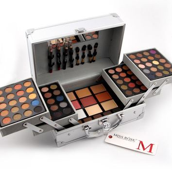 Professional makeup box with brush mirror