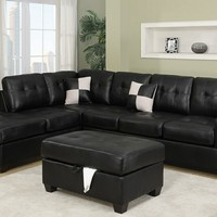 2 pc II Reversible Black leather like vinyl sectional sofa with chaise lounge with rounded top arms and tufted back and seats