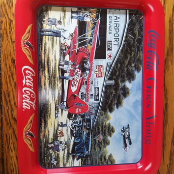 Vintage 1998 Coca-Cola Goes Along Metal Tray / Coke Airplane